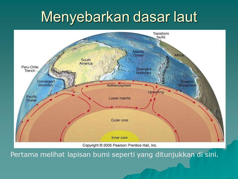 Menyebarkan dasar laut Pertama melihat lapisan bumi seperti yang ditunjukkan di sini.