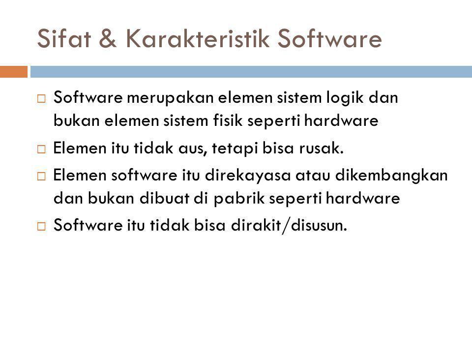 Sifat & Karakteristik Software  Software merupakan elemen sistem logik dan bukan elemen sistem fisik seperti hardware  Elemen itu tidak aus, tetapi bisa rusak.