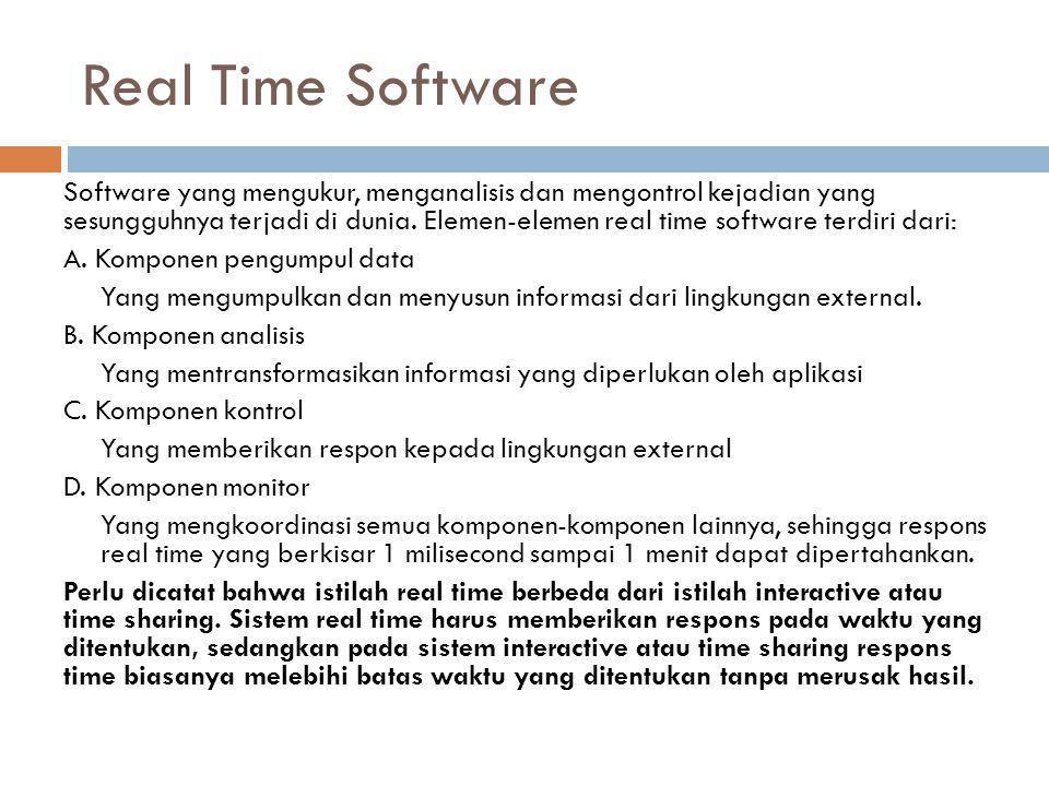 Real Time Software Software yang mengukur, menganalisis dan mengontrol kejadian yang sesungguhnya terjadi di dunia. Elemen-elemen real time software t