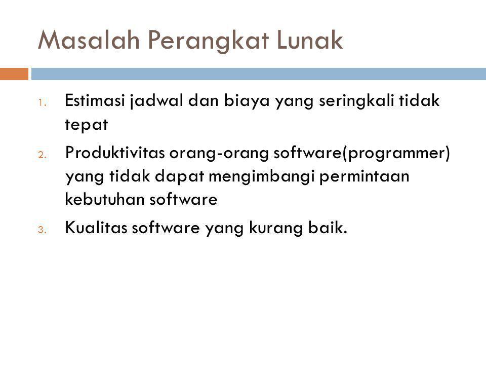 Masalah Perangkat Lunak 1. Estimasi jadwal dan biaya yang seringkali tidak tepat 2. Produktivitas orang-orang software(programmer) yang tidak dapat me