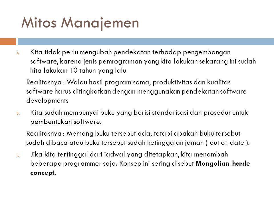 Mitos Manajemen A. Kita tidak perlu mengubah pendekatan terhadap pengembangan software, karena jenis pemrograman yang kita lakukan sekarang ini sudah