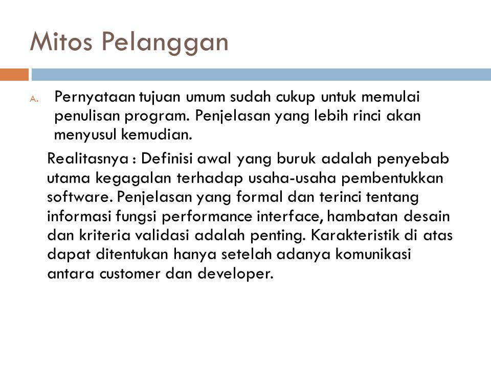 Mitos Pelanggan A.Pernyataan tujuan umum sudah cukup untuk memulai penulisan program.