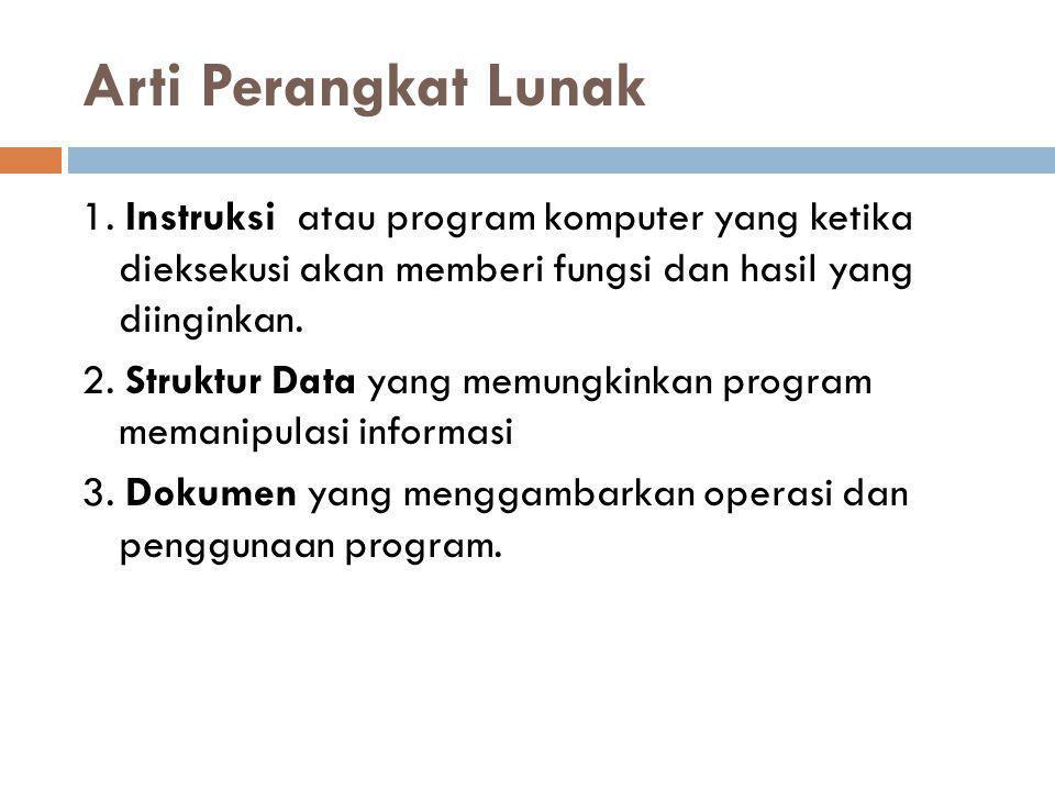 Arti Perangkat Lunak 1. Instruksi atau program komputer yang ketika dieksekusi akan memberi fungsi dan hasil yang diinginkan. 2. Struktur Data yang me