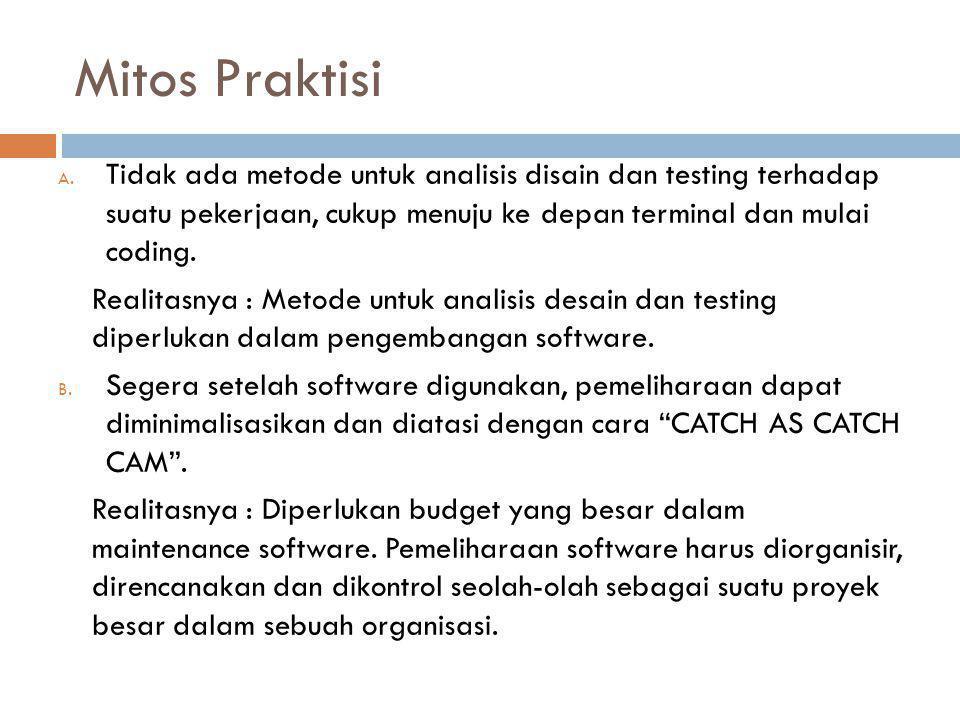 Mitos Praktisi A. Tidak ada metode untuk analisis disain dan testing terhadap suatu pekerjaan, cukup menuju ke depan terminal dan mulai coding. Realit