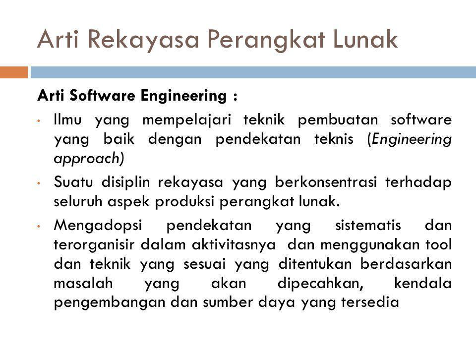 Arti Rekayasa Perangkat Lunak Arti Software Engineering : • Ilmu yang mempelajari teknik pembuatan software yang baik dengan pendekatan teknis (Engineering approach) • Suatu disiplin rekayasa yang berkonsentrasi terhadap seluruh aspek produksi perangkat lunak.