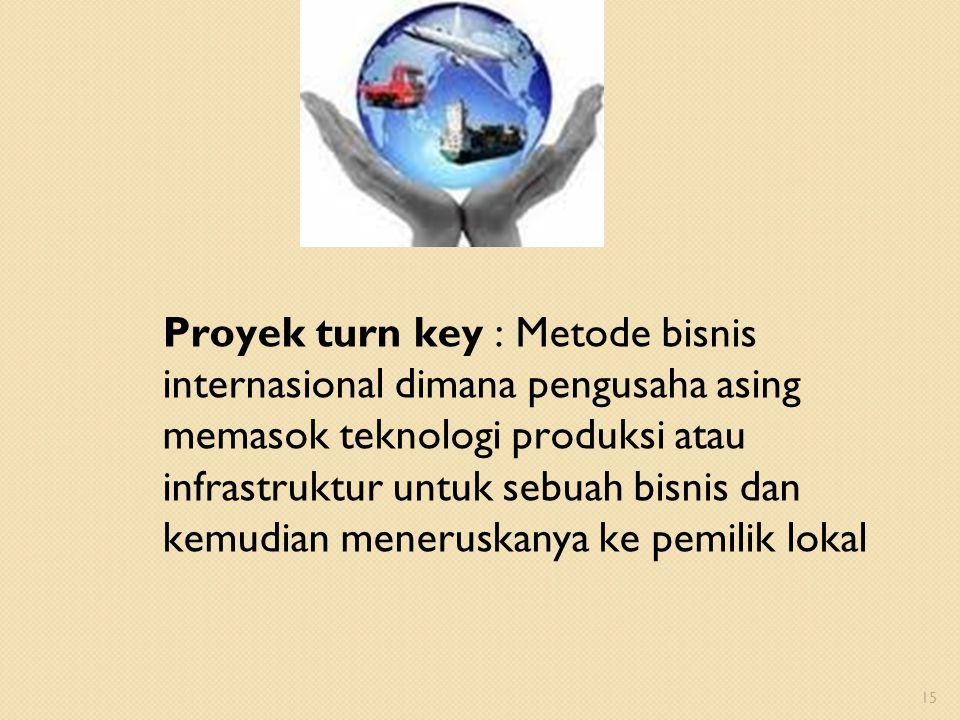 Proyek turn key : Metode bisnis internasional dimana pengusaha asing memasok teknologi produksi atau infrastruktur untuk sebuah bisnis dan kemudian me