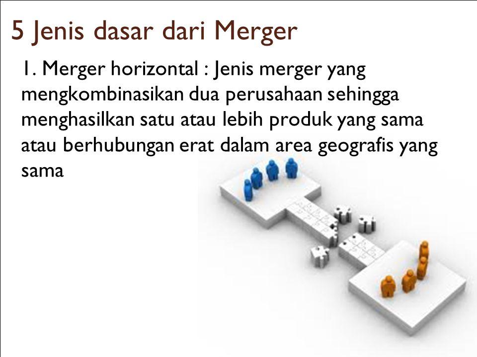 20 5 Jenis dasar dari Merger 1. Merger horizontal : Jenis merger yang mengkombinasikan dua perusahaan sehingga menghasilkan satu atau lebih produk yan