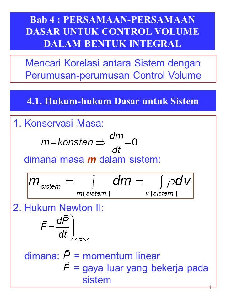 Bab 4 : PERSAMAAN-PERSAMAAN DASAR UNTUK CONTROL VOLUME DALAM BENTUK INTEGRAL 1 4.1. Hukum-hukum Dasar untuk Sistem 1.Konservasi Masa: dimana masa m da
