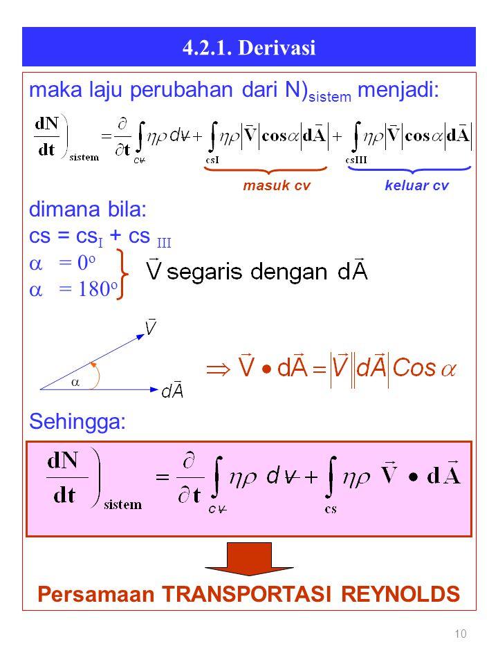 4.2.1. Derivasi 10 maka laju perubahan dari N) sistem menjadi: masuk cv keluar cv dimana bila: cs = cs I + cs III  = 0 o  = 180 o Sehingga: Persamaa