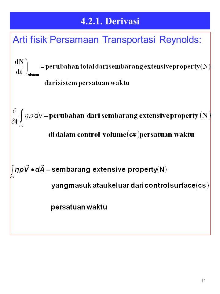 4.2.1. Derivasi 11 Arti fisik Persamaan Transportasi Reynolds: