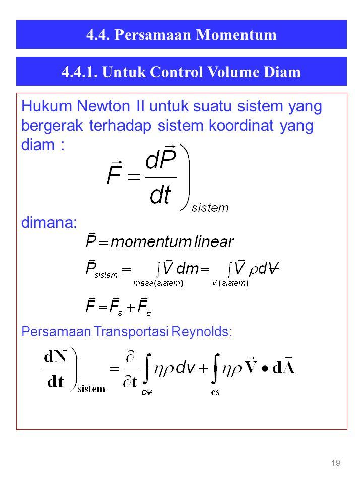 4.4. Persamaan Momentum 19 Hukum Newton II untuk suatu sistem yang bergerak terhadap sistem koordinat yang diam : dimana: Persamaan Transportasi Reyno
