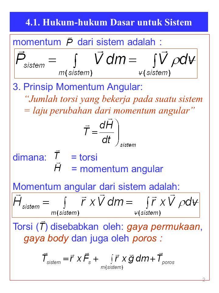 """4.1. Hukum-hukum Dasar untuk Sistem 2 momentum dari sistem adalah : 3. Prinsip Momentum Angular: """"Jumlah torsi yang bekerja pada suatu sistem = laju p"""