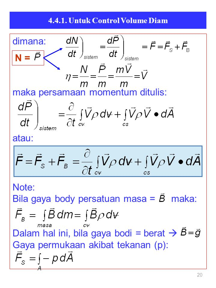 20 dimana: maka persamaan momentum ditulis: atau: Note: Bila gaya body persatuan masa = maka: Dalam hal ini, bila gaya bodi = berat  Gaya permukaan a