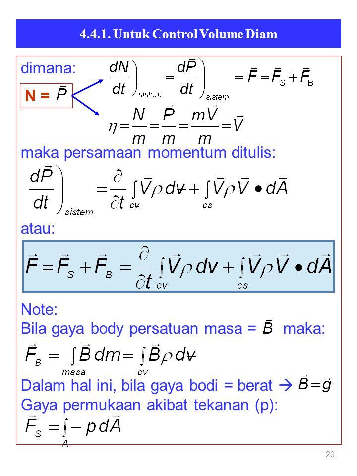 20 dimana: maka persamaan momentum ditulis: atau: Note: Bila gaya body persatuan masa = maka: Dalam hal ini, bila gaya bodi = berat  Gaya permukaan akibat tekanan (p): N =