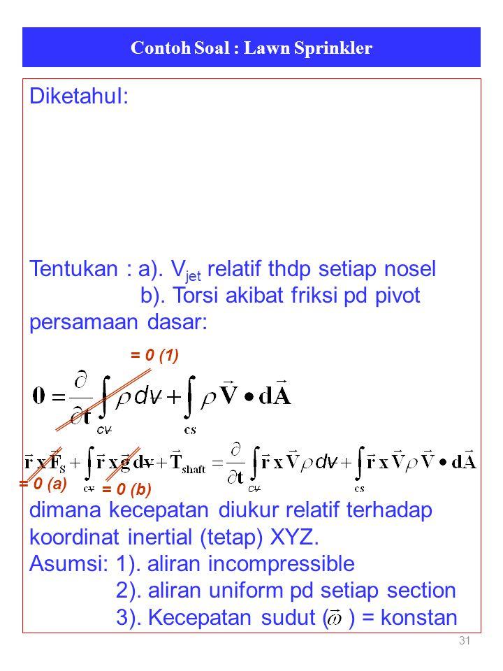 Contoh Soal : Lawn Sprinkler 31 DiketahuI: Tentukan : a). V jet relatif thdp setiap nosel b). Torsi akibat friksi pd pivot persamaan dasar: dimana kec