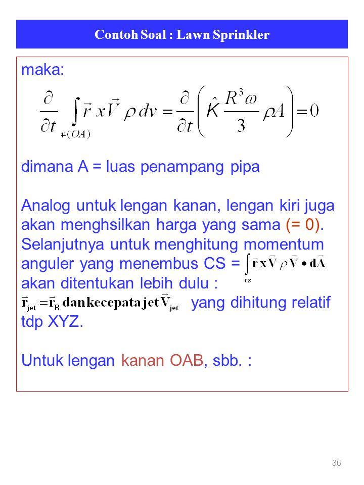 Contoh Soal : Lawn Sprinkler 36 maka: dimana A = luas penampang pipa Analog untuk lengan kanan, lengan kiri juga akan menghsilkan harga yang sama (= 0).