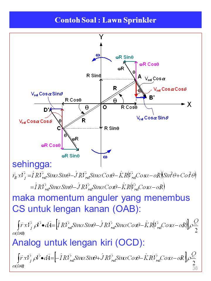 Contoh Soal : Lawn Sprinkler 38 sehingga: maka momentum anguler yang menembus CS untuk lengan kanan (OAB): Analog untuk lengan kiri (OCD):