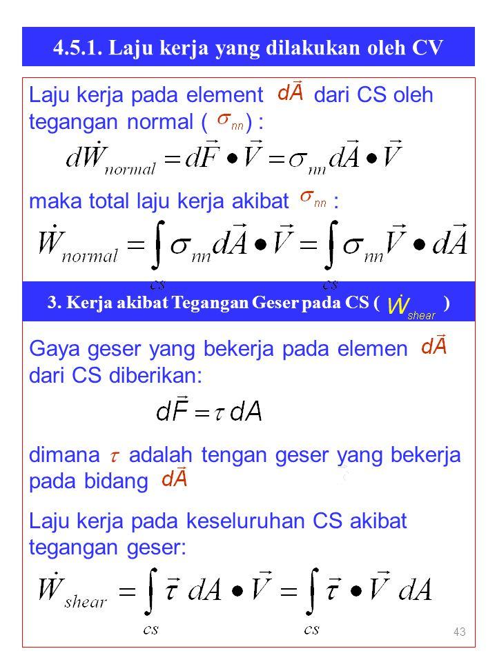 4.5.1. Laju kerja yang dilakukan oleh CV 43 Laju kerja pada element dari CS oleh tegangan normal ( ) : maka total laju kerja akibat : Gaya geser yang