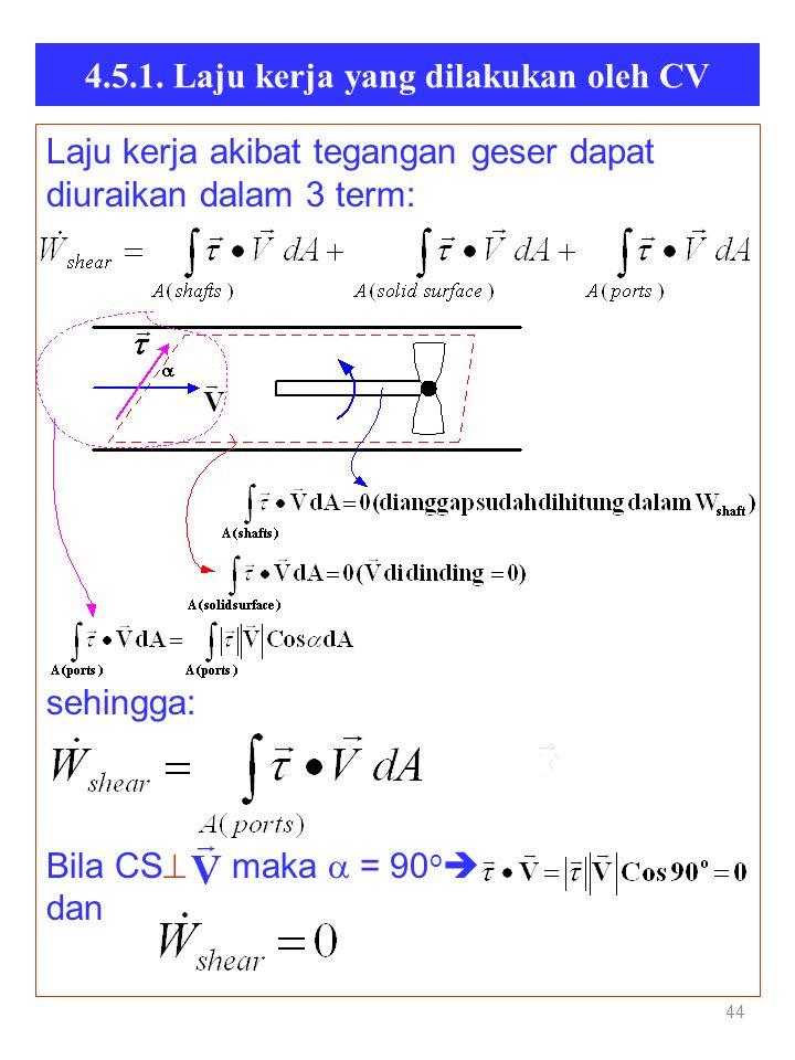 4.5.1. Laju kerja yang dilakukan oleh CV 44 Laju kerja akibat tegangan geser dapat diuraikan dalam 3 term: sehingga: Bila CS  maka  = 90 o  da