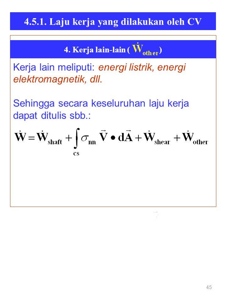 4.5.1. Laju kerja yang dilakukan oleh CV 45 Kerja lain meliputi: energi listrik, energi elektromagnetik, dll. Sehingga secara keseluruhan laju kerja d