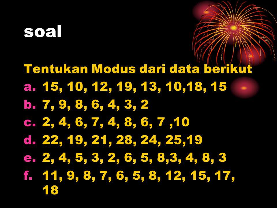 soal Tentukan Modus dari data berikut a.15, 10, 12, 19, 13, 10,18, 15 b.7, 9, 8, 6, 4, 3, 2 c.2, 4, 6, 7, 4, 8, 6, 7,10 d.22, 19, 21, 28, 24, 25,19 e.