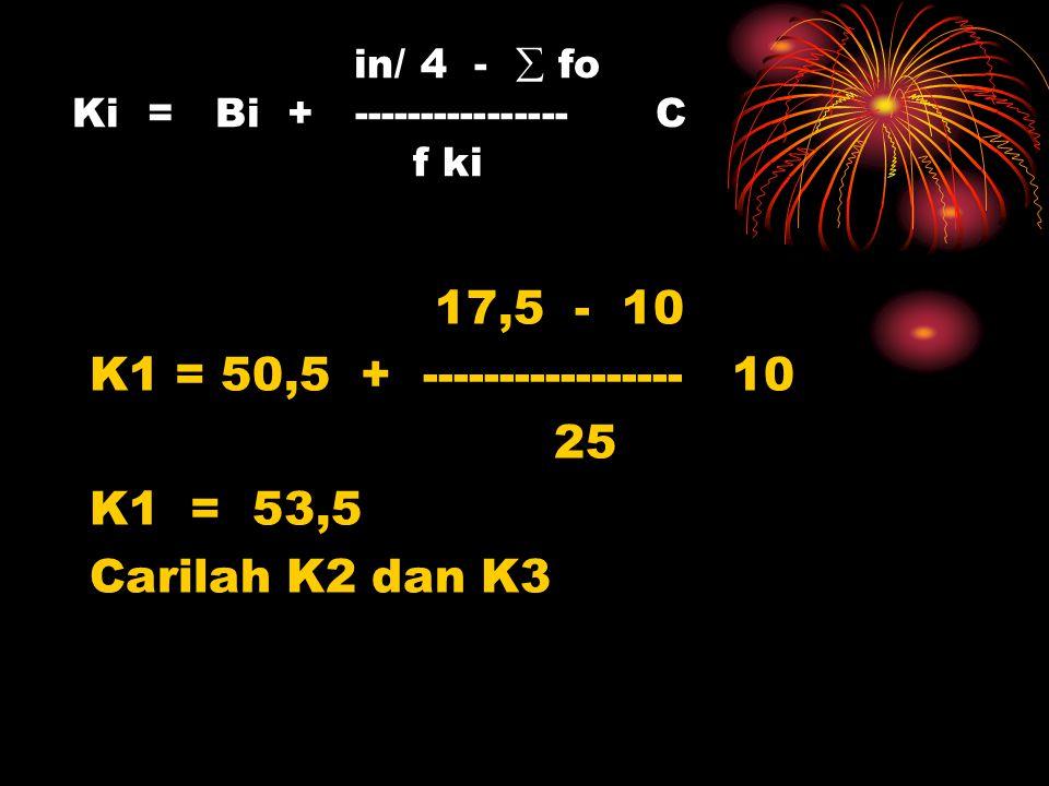 in/ 4 -  fo Ki = Bi + ---------------- C f ki 17,5 - 10 K1 = 50,5 + ----------------- 10 25 K1 = 53,5 Carilah K2 dan K3