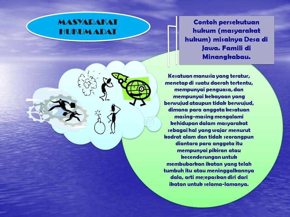 DIMANA ADA MASYARAKAT, DI SANA ADA HUKUM (ADAT) MASYARAKAT HUKUM ADAT  DASAR PERSATUAN MANUSIA: Geneologis, Teritorial, Geneologis- Teritorial / Teri