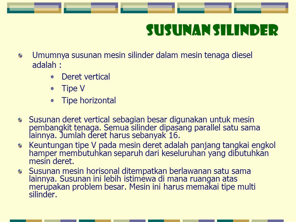 SUSUNAN SILINDER Umumnya susunan mesin silinder dalam mesin tenaga diesel adalah : • Deret vertical • Tipe V • Tipe horizontal Susunan deret vertical