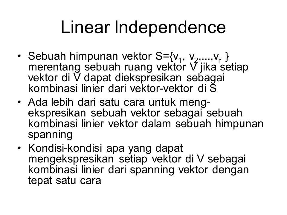 Linear Independence •Sebuah himpunan vektor S={v 1, v 2,...,v r } merentang sebuah ruang vektor V jika setiap vektor di V dapat diekspresikan sebagai kombinasi linier dari vektor-vektor di S •Ada lebih dari satu cara untuk meng- ekspresikan sebuah vektor sebagai sebuah kombinasi linier vektor dalam sebuah himpunan spanning •Kondisi-kondisi apa yang dapat mengekspresikan setiap vektor di V sebagai kombinasi linier dari spanning vektor dengan tepat satu cara