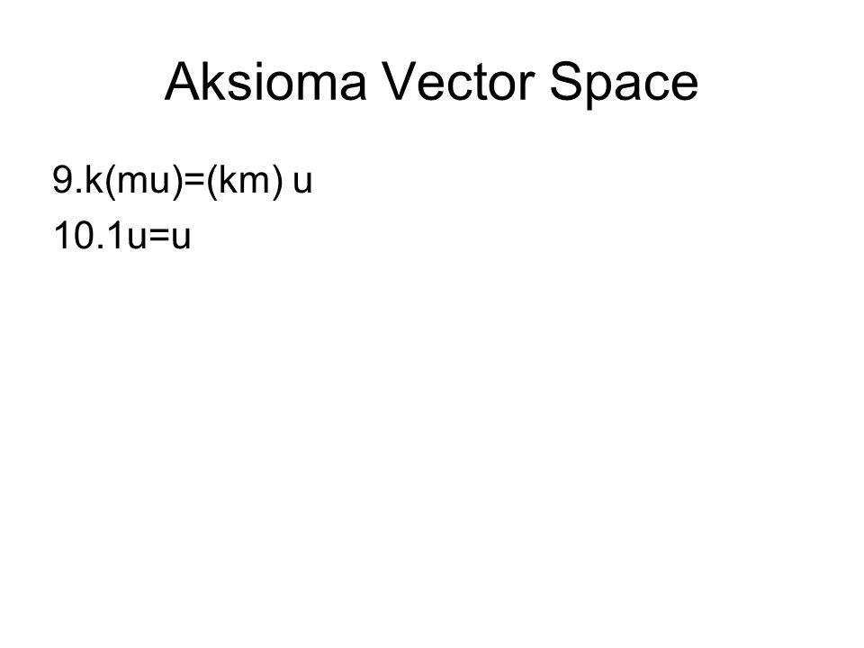 Aksioma Vector Space 9.k(mu)=(km) u 10.1u=u