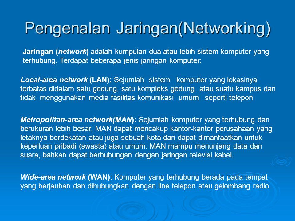Pengenalan Jaringan(Networking) Jaringan (network) adalah kumpulan dua atau lebih sistem komputer yang terhubung. Terdapat beberapa jenis jaringan kom