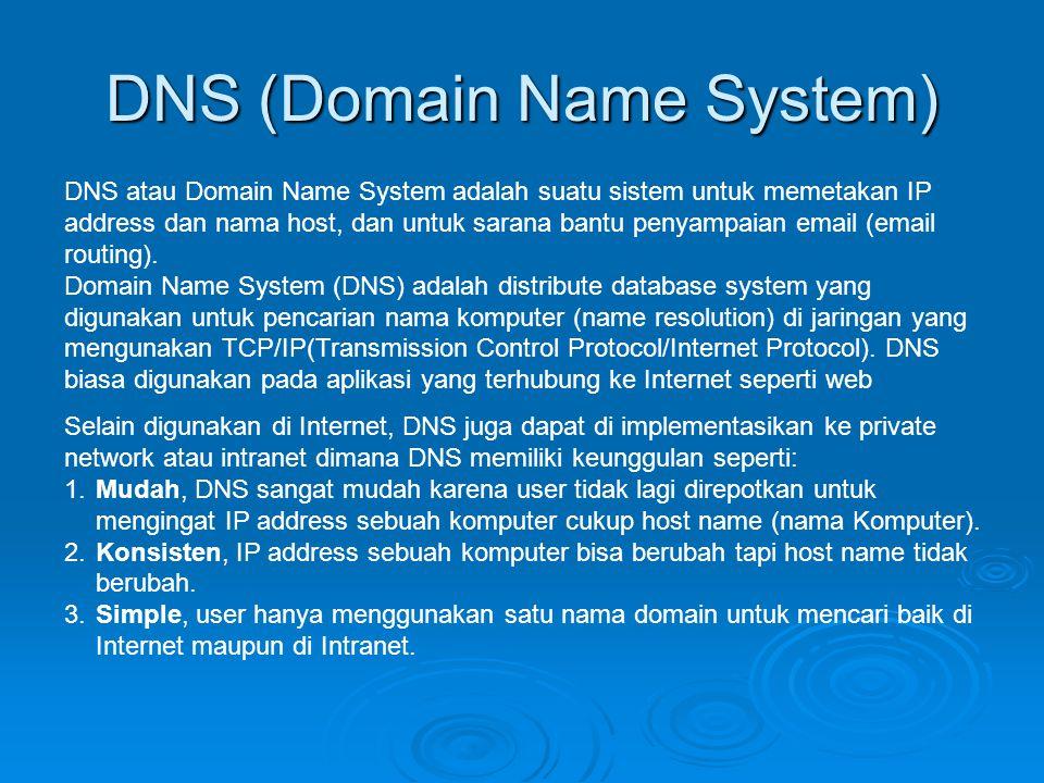 DNS (Domain Name System) DNS atau Domain Name System adalah suatu sistem untuk memetakan IP address dan nama host, dan untuk sarana bantu penyampaian