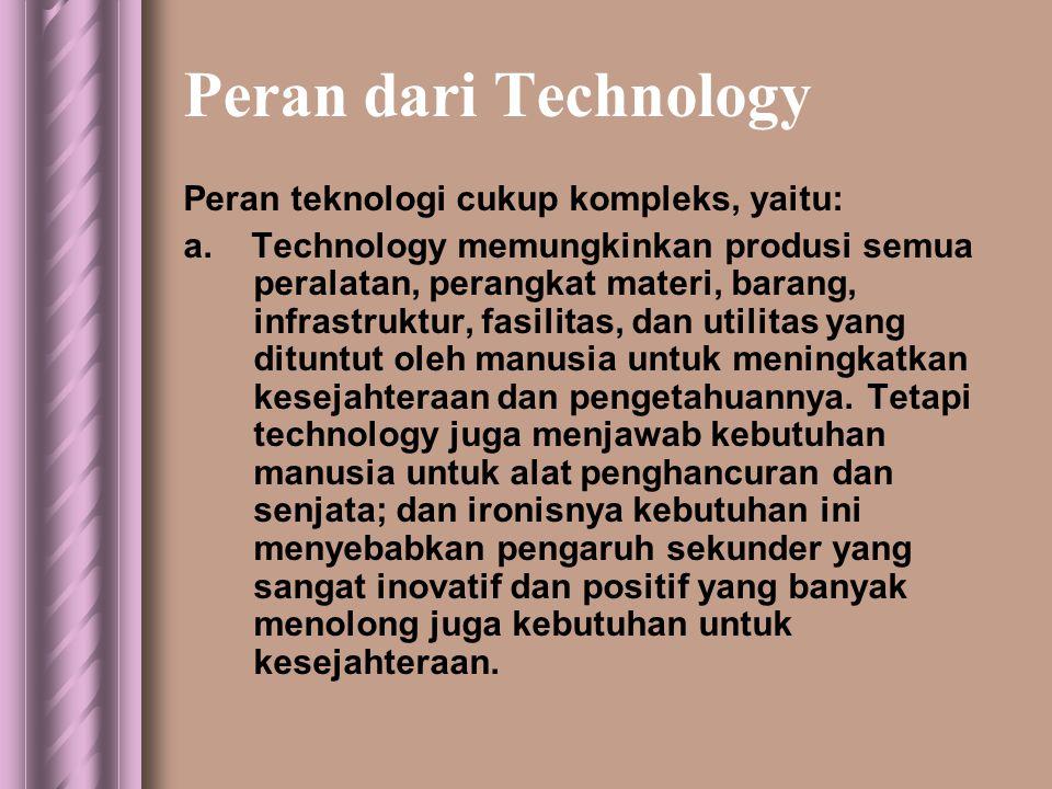 Peran dari Technology Peran teknologi cukup kompleks, yaitu: a.