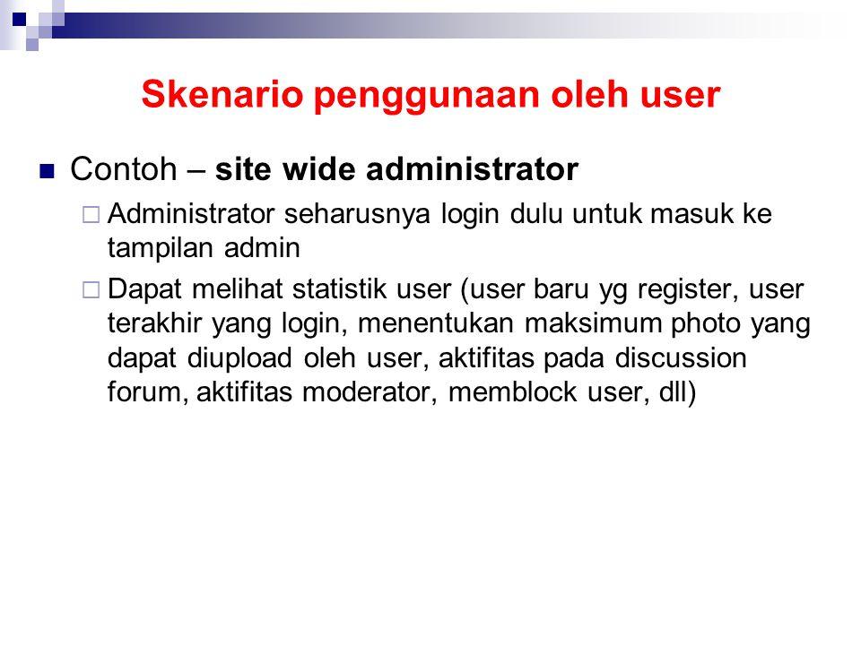 Skenario penggunaan oleh user  Contoh – site wide administrator  Administrator seharusnya login dulu untuk masuk ke tampilan admin  Dapat melihat statistik user (user baru yg register, user terakhir yang login, menentukan maksimum photo yang dapat diupload oleh user, aktifitas pada discussion forum, aktifitas moderator, memblock user, dll)