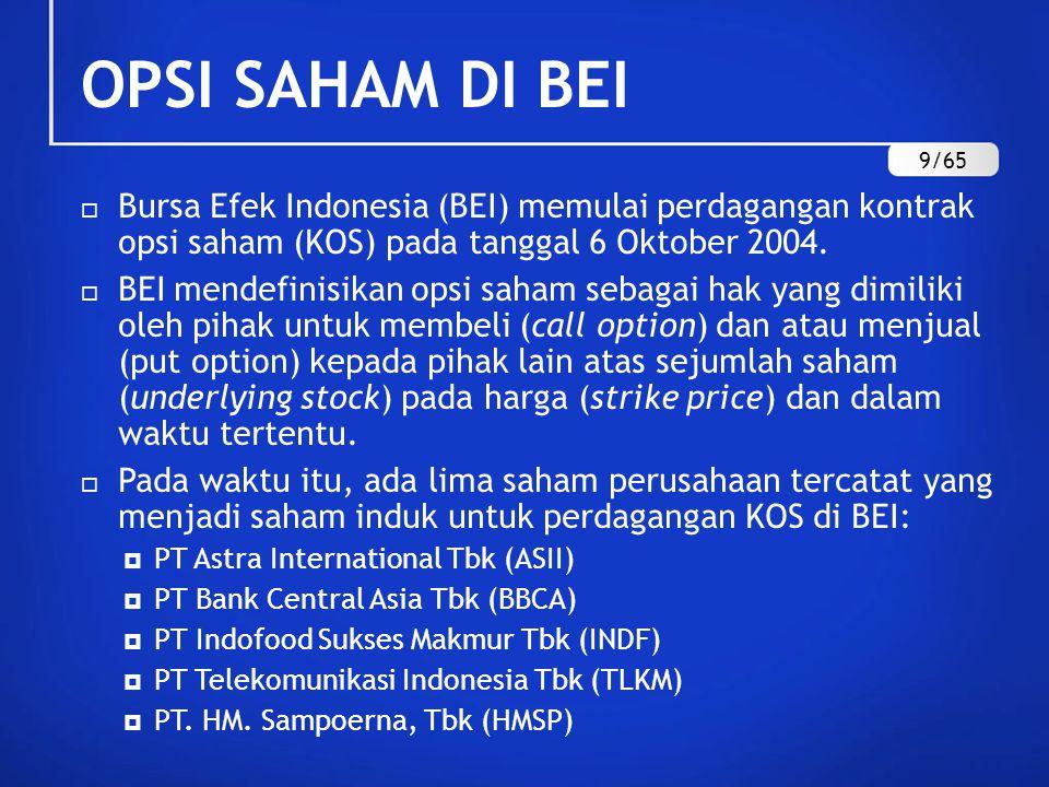 OPSI SAHAM DI BEI  Bursa Efek Indonesia (BEI) memulai perdagangan kontrak opsi saham (KOS) pada tanggal 6 Oktober 2004.  BEI mendefinisikan opsi sah