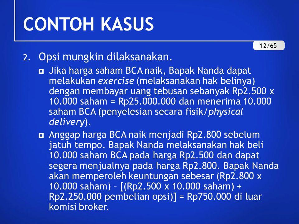 2. Opsi mungkin dilaksanakan.  Jika harga saham BCA naik, Bapak Nanda dapat melakukan exercise (melaksanakan hak belinya) dengan membayar uang tebusa