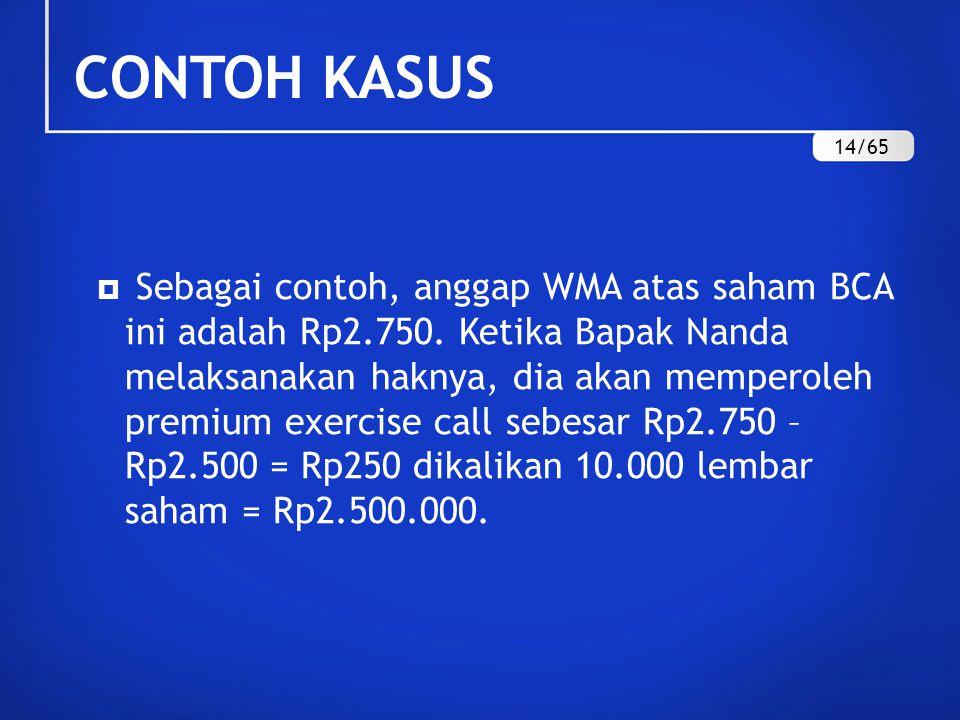  Sebagai contoh, anggap WMA atas saham BCA ini adalah Rp2.750.