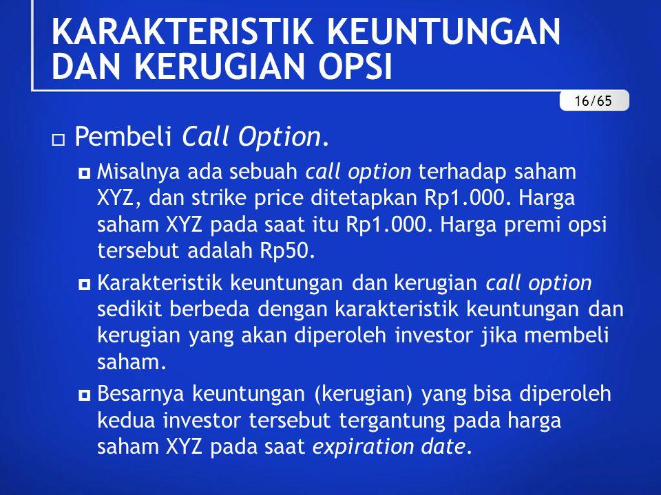KARAKTERISTIK KEUNTUNGAN DAN KERUGIAN OPSI  Pembeli Call Option.  Misalnya ada sebuah call option terhadap saham XYZ, dan strike price ditetapkan Rp