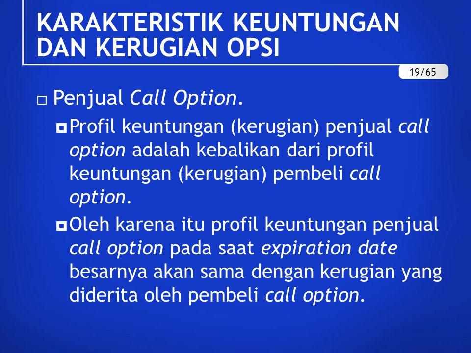  Penjual Call Option.  Profil keuntungan (kerugian) penjual call option adalah kebalikan dari profil keuntungan (kerugian) pembeli call option.  Ol