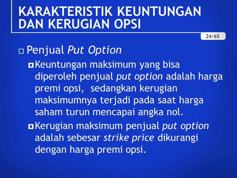  Penjual Put Option  Keuntungan maksimum yang bisa diperoleh penjual put option adalah harga premi opsi, sedangkan kerugian maksimumnya terjadi pada saat harga saham turun mencapai angka nol.