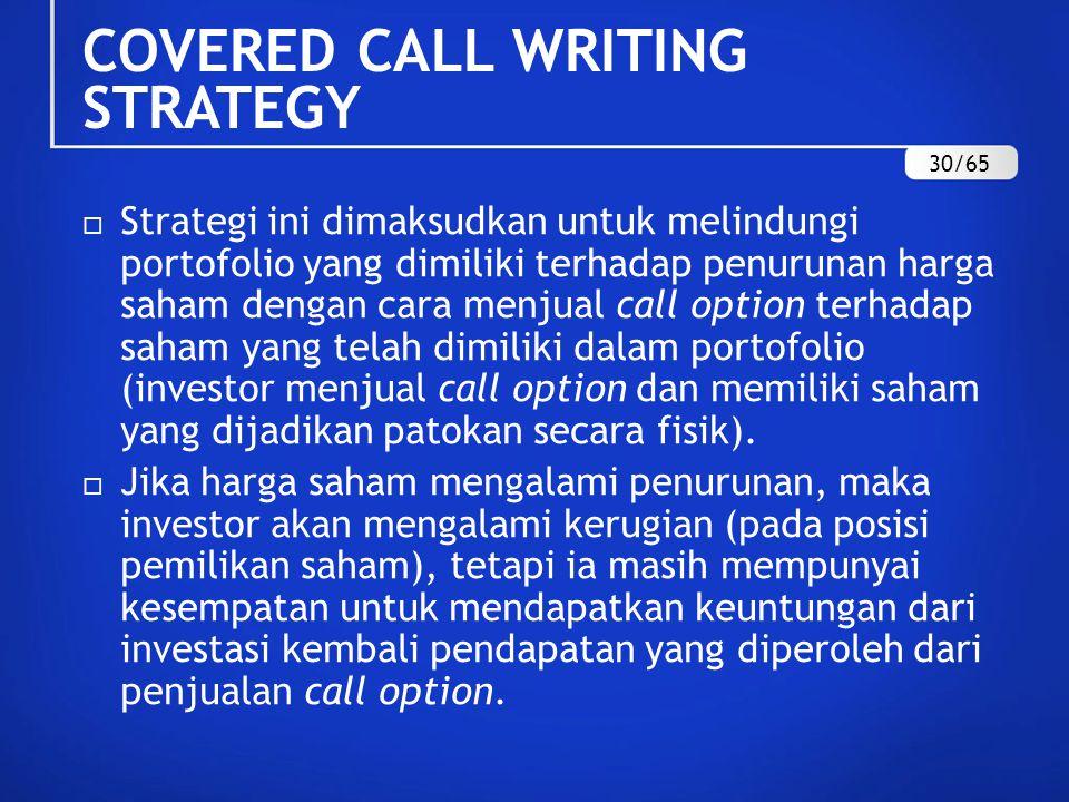 COVERED CALL WRITING STRATEGY  Strategi ini dimaksudkan untuk melindungi portofolio yang dimiliki terhadap penurunan harga saham dengan cara menjual call option terhadap saham yang telah dimiliki dalam portofolio (investor menjual call option dan memiliki saham yang dijadikan patokan secara fisik).