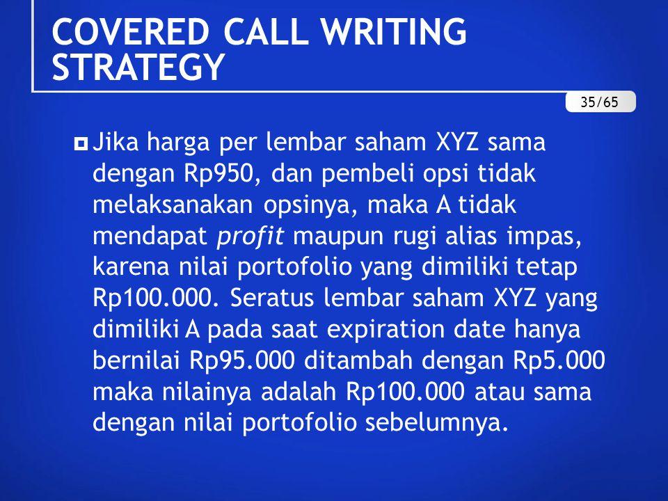 Jika harga per lembar saham XYZ sama dengan Rp950, dan pembeli opsi tidak melaksanakan opsinya, maka A tidak mendapat profit maupun rugi alias impas, karena nilai portofolio yang dimiliki tetap Rp100.000.