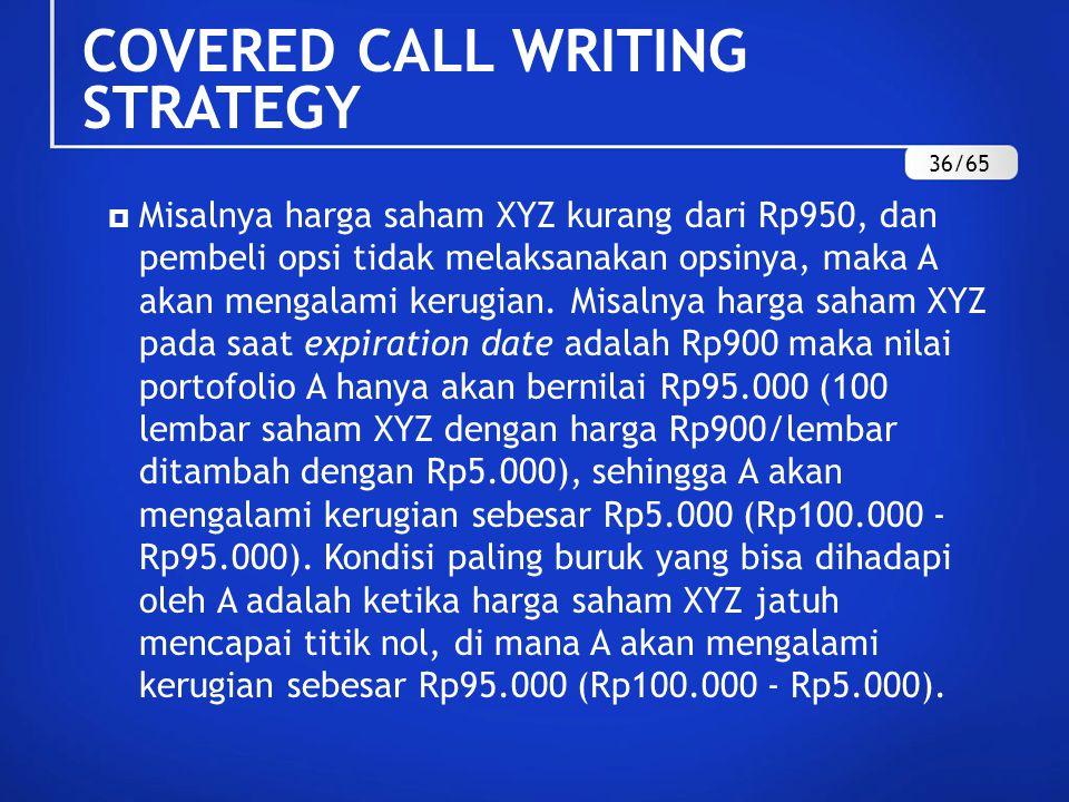  Misalnya harga saham XYZ kurang dari Rp950, dan pembeli opsi tidak melaksanakan opsinya, maka A akan mengalami kerugian.
