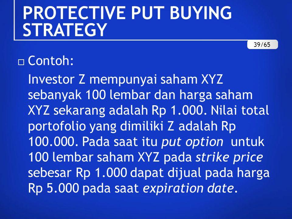  Contoh: Investor Z mempunyai saham XYZ sebanyak 100 lembar dan harga saham XYZ sekarang adalah Rp 1.000. Nilai total portofolio yang dimiliki Z adal