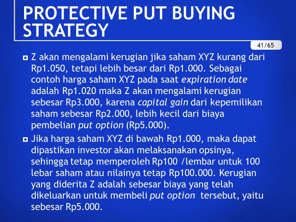  Z akan mengalami kerugian jika saham XYZ kurang dari Rp1.050, tetapi lebih besar dari Rp1.000. Sebagai contoh harga saham XYZ pada saat expiration d