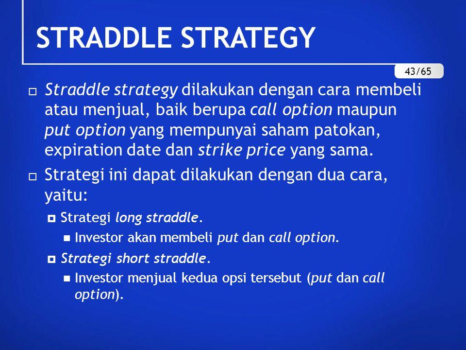 STRADDLE STRATEGY  Straddle strategy dilakukan dengan cara membeli atau menjual, baik berupa call option maupun put option yang mempunyai saham patokan, expiration date dan strike price yang sama.
