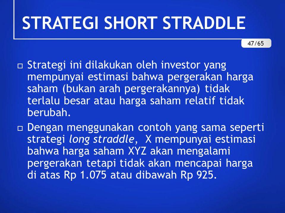 STRATEGI SHORT STRADDLE  Strategi ini dilakukan oleh investor yang mempunyai estimasi bahwa pergerakan harga saham (bukan arah pergerakannya) tidak terlalu besar atau harga saham relatif tidak berubah.