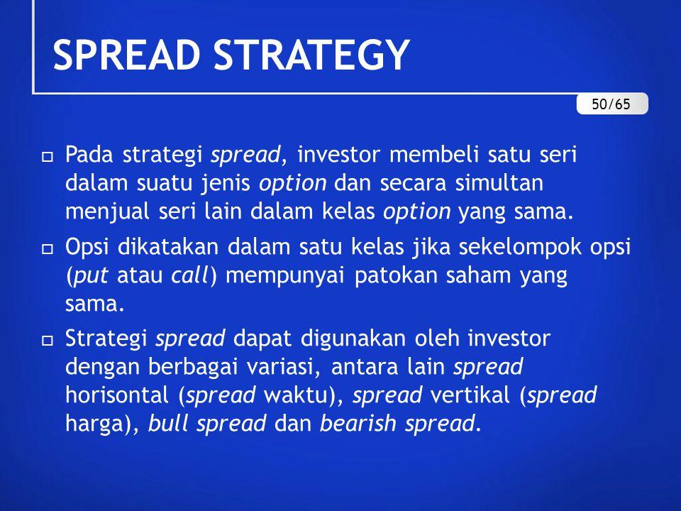 SPREAD STRATEGY  Pada strategi spread, investor membeli satu seri dalam suatu jenis option dan secara simultan menjual seri lain dalam kelas option yang sama.