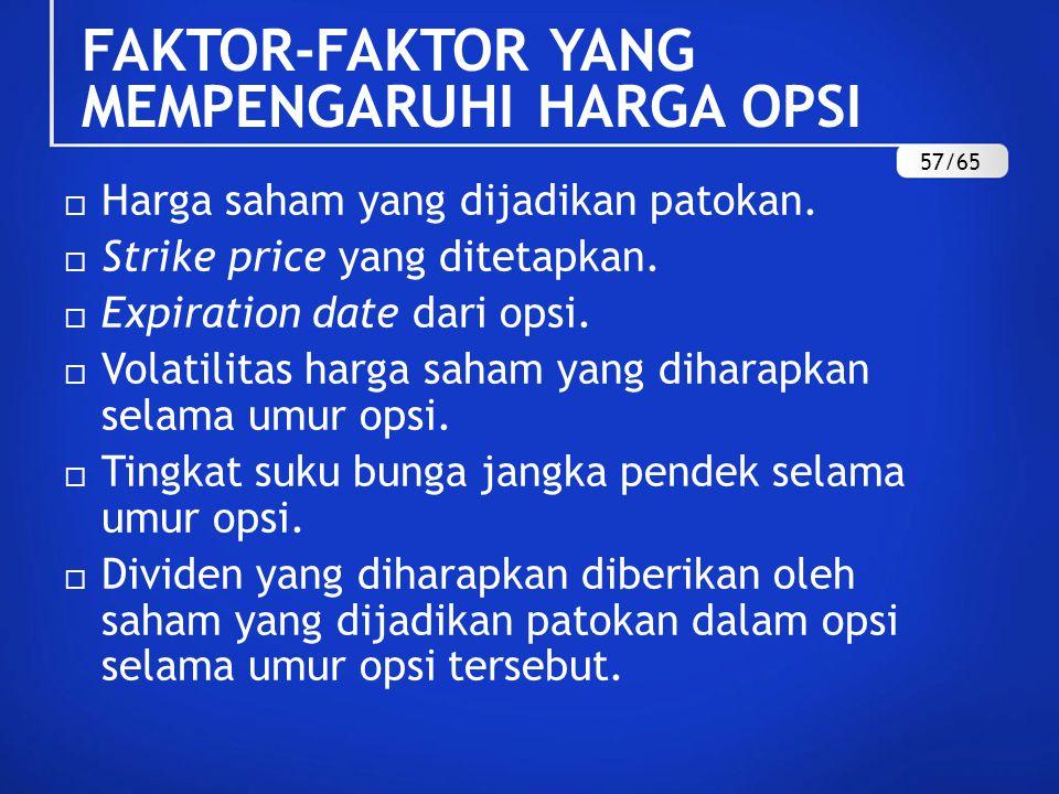 FAKTOR-FAKTOR YANG MEMPENGARUHI HARGA OPSI  Harga saham yang dijadikan patokan.  Strike price yang ditetapkan.  Expiration date dari opsi.  Volati