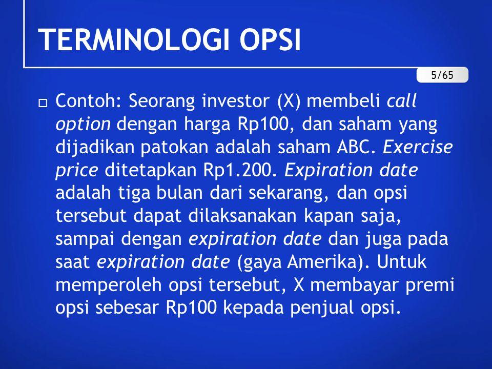  Contoh: Seorang investor (X) membeli call option dengan harga Rp100, dan saham yang dijadikan patokan adalah saham ABC. Exercise price ditetapkan Rp